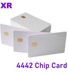 مخزون ! Pure White Fudan44442 PVC Card Contact IC Card 4442 Chip Card التحكم بالوصول