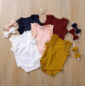 Baby Girl Clothes Solid Newborn Romper Headband 2pcs Set Sleeveless Infant Girls Jumpsuits Summer Baby Clothing 5 Colors DW5477