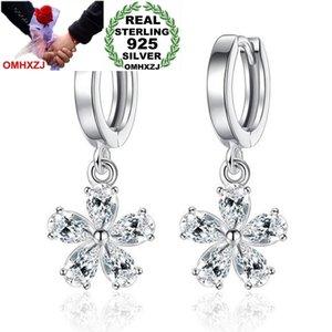 OMHXZJ Wholesale Jewelry fashion star for Woman gifts Sweet Cute Pear Flower 925 Sterling Silver buckle Hoop EarringsYS187