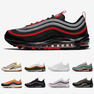 Nike air max 97 shoes Bred airmax 97 Mens Running shoes Realtree White Evergreen Sunburst UNDEFEATED UNDFTD Olive Triple black Team Red Men women sports Sneakers 36-45