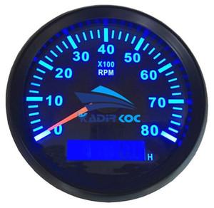 0-8000RPM Rev 카운터를 조정하는 1 개의 Blue Backlight Tachometers 팩 자동 보트 용 시간 측정기가있는 85mm LCD 회전 수 측정기