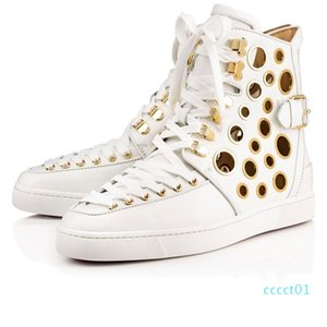 New Sale Designer Shoes Studded Spikes Flats shoes Red Bottoms shoes luxury Mens Womens Party Lovers Genuine Leather Sneakers 1ct