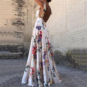Abiti stampa floreale estate delle donne del V-Collo Backless epoca lungo Boho Cocktail Party casuale allentato Beach vestito rosa 2019