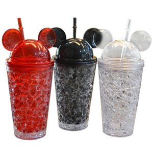 Fashion Double Straw Ice Bottles Cartoon Big Ears Mouse Cute Summer Cold Drinks Plastic Iced Milk Juice Coffee Drinkware