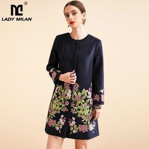 Pista señora Milán de las mujeres capas de foso o cuello manga larga bordado floral de la moda abrigo de lana Escudo