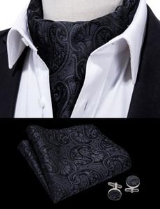 Hallo-Krawatte Mens Vintage 100% Seide Ascot Krawatte Tasche Manschettenknöpfe Platz Set Klassische Schwarz Floral Krawatte Für Herren Geschenk Party Hochzeit AS-0008
