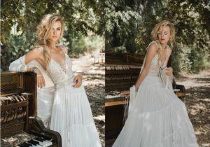 La gasa del cordón Inbal Raviv una línea de Bohemia boda vestidos de espagueti V Volver elegante de Boho del vestido de novia estilo de la playa más los vestidos de boda del tamaño 4278