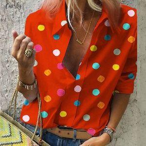 2020 Bohemian Polka Dot Women Blouse Vintage Long Sleeve Loose Shirts Ladies Beach Tops Dot Print Sexy V Neck Shirts Moda Blusas