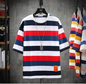 Mens suelta el verano del diseñador camisetas raya de la moda de manga corta impresa transpirable Tees nuevo estilo camisetas