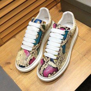Top oversize Sneakers pitone stampato finto pattini casuali delle donne di lusso del progettista degli uomini con la scatola in pelle