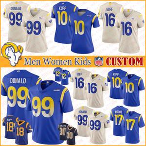 99 Aaron Donald Los AngelesÖzel Erkek Bayan Çocuk RamsFutbol Formalar 16 Jared Goff 10 Cooper Kupp 17 Robert Woods 20 Jalen Ramsey