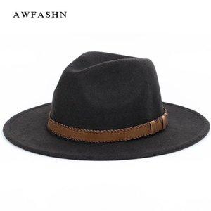 супер широкие поля фетровой шляпы, шерсть пирог со свининой канотия Flat Top Hat для женской Мужского Войлока Широких Бреют винтажной шляпа Fedoras Gambler Hat D19011102