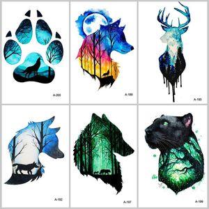 Erkekler su geçirmez Dövme Çıkartma Moda Body Art A-027 için WYUEN Sıcak Tasarım Kurt Kafa Hayvan Geçici Dövme