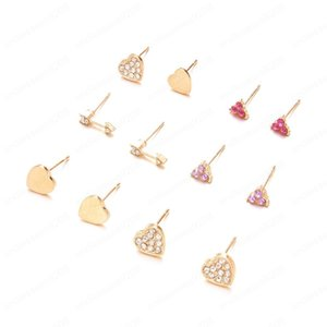 New Fashion Hot Sale 6 Pairs Set Mixed Stud Earrings For Women Vintage Earring Set Gift Heart Crystal Earring