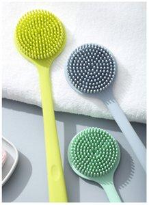 3 цвета Slicone ванна Body Brush Exfoliator длинная ручка задняя щетка для душа двусторонний задний скруббер душевые щетки для чистки JK1911