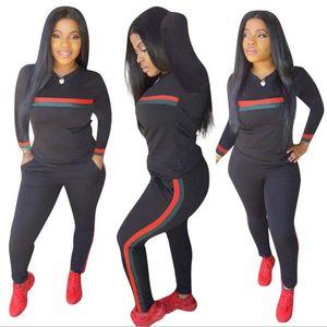 Yeni Kadın Tulumlar Uzun Kollu Spor Takım Elbise Günlük Üstleri ve Pantolon Lady Çizgili Baskı Sonbahar Kış Eşofman 2 Parça Kıyafetler Spor eşofman