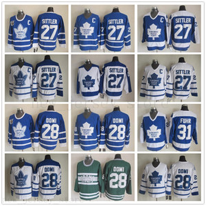 Toronto Maple Leafs 27 Darryl Sittler Ice Hockey Jerseys Vintage Classic 75th Anniversary 28 Claude Giroux 31 Grant Fuhr Blue White C Patch
