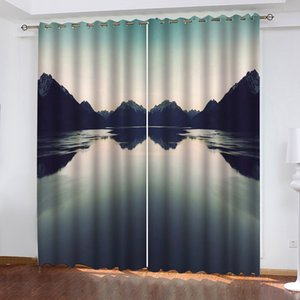 Curtain Nature Mountain Lakes print Customized 3D Blackout Curtains Living Room Bedroom Hotel Window