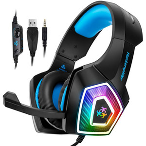 Microfono di controllo Hunterspider V1 Wired PC Gaming Headset cuffia 7 luci LED di colore bassa distorsione Con muto del tasto del volume per PS4 PC