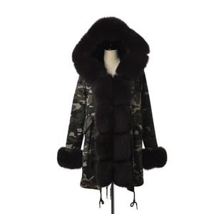 Kürk Yaka Ve Manşet Casual sıcak Parka ile FURSARCAR Yeni Kamuflaj Ceket Gerçek Kürk Parka Kadınlar Lüks Kış 80 CM Coat