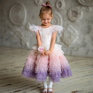 Amazing Ombre Lace Flower Girl Dresses Feather Sleeves For Wedding Toddler Pageant Gowns Knee Length Tiered Tulle Kids Prom Dress