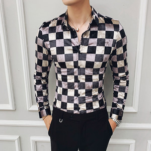 Fashion Street Wear Retro Mens-beiläufige Hemden Baumwolle Business Office Hemd Karo Velvet Shirts Plaid Camisa Hombre Slim Fit Männer