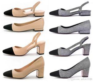 Diseñador de la piel de becerro mujeres Pasarela zapatos de tacón zapatos de las bombas Slingbacks Sandalias Pisos Vestido beige gris de la boda individuales con la caja original