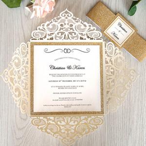 Convite do casamento do Marfim Laser Cut Rose Gold Glitter Border luxo com Glittery Belt e Tag DIY Impressão Lace Quinceanera convites