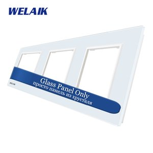 WELAIK UE-Touch-interruptor de DIY las piezas de cristal de panel de pared Sólo-Light-Switch-Cristal-Panel de orificios cuadrados A3888W1 / B1 T200605