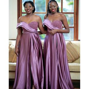 وصيفة الشرف فساتين طويلة أفريقيا الخزامى 2020 الحبيب الكتف واحد مطرز مثير الشق ريف حفل زفاف الزوار اللباس