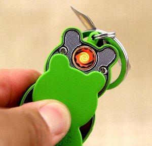 New Frog style métal léger USB allume-cigare électronique rechargeable porte-clés Turbo allume-cigare Porte-clés Briquets cadeau