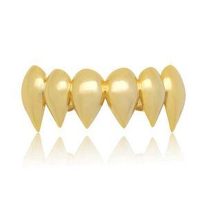 хип-хоп сглаживать Grillz вампира зубы аксессуары реального золота гальваническим верхние зубы зубной грили рэпперов ювелирные изделия тела