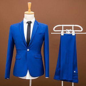 Brand New Royal Blue Mens Wedding Tuxedos Popular Groom Groomsmen Tuxedos Man Blazers Jacket Excellent 2 Piece Suits(Jacket+Pants+Tie) 457