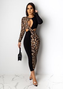 21p8456 Europe and America women's long sleeve leopard dress color stitching hollow plug