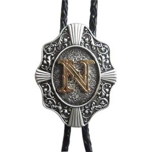 Западный галстук клипы Боло галстук для мужчин оригинальный письмо Н Боло галстук косплей костюм кожаный ожерелье болоте-WT078N