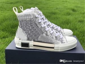 B23 Haut-Top Sneaker technique Tissu Oblique Plateforme Chaussures Hommes Casual 19SS Blanc Noir Calfskin romand Chaussures de toile avec la boîte
