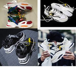 2019 Kanye West INS ABO Reacción en Cadena de zapatos ulzzang papá Negro Blanco ocasional del zapato de goma de malla de cuero plana mujeres de los hombres de moda zapatillas de deporte 5-11
