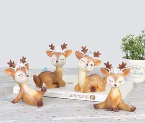 """Cerf Figurines Jouets Décor 4.1 """", Faune Mignonne Fawn Doe Noël Home Decor Résine Ornament Cake Topper Party Décoration de Bureau pour Anniversaire De Mariage"""