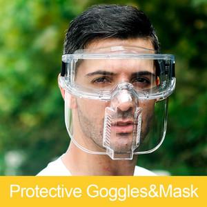 Transparentes Gafas de protección Gafas de seguridad anti-salpicaduras protector de cara Claro Seguridad en el Trabajo de los vidrios de las lentes del ocular separable