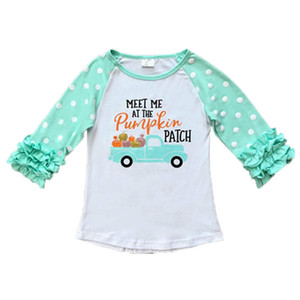Kids Girls T-shirts Baby Christmas Halloween Thanksgiving Unicorn Turkey Pumpkin Letter Striped Dots Ruffle Sleeve 28 Tops 12M-7T