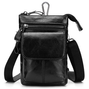 Genuine Leather Waist Hip Bags Packs - Multifunction Mens Fanny Pack Belt Bag Phone Pouch Travel Waist Pack (7 Colors)