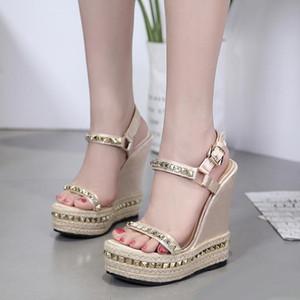 15см шикарные заклепки вязаные плетеные женские платформенные босоножки на высоком каблуке дизайнерского размера на высоком каблуке от 35 до 40