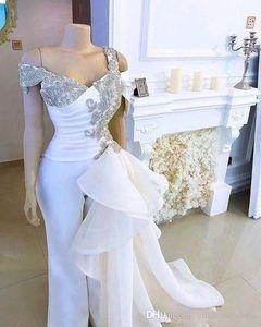 omuz Mermaid Akşam Elbise Pantolon Suit Kapalı Kristal Ayrılabilir Yan Peplum Tail ile 2020 Plus Size Afrika Beyaz Gelinlik Modelleri Jumpsuit