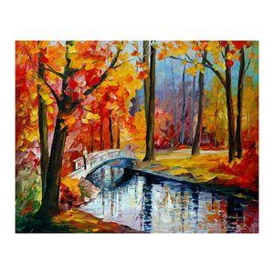 24x36 مسار الغابات غرفة المعيشة رسمت باليد قماش النفط الطلاء البليت سكين أريكة خلفية الجدار الديكور اللوحة اللوحة الأوروبية