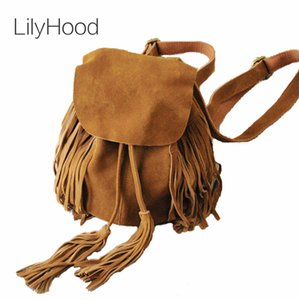 LilyHood Mujeres de Piel genuino gamuza Mochila femenina de Bohemia Boho Chic Ibiza Mini Cubo Fringe Brown Rucksuck Bolsas T200323
