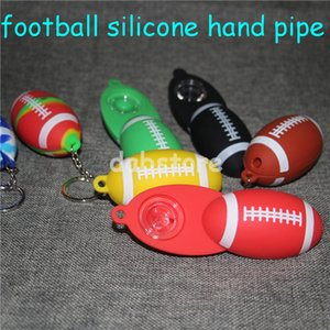 Silicone Pipe Fumar Accesorios Glass Pipe football Glass Smoke Pipe Tabaco de mano Pyrex colorido cuchara