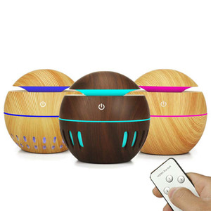 130ml Aroma Air Humidifier Wood Grain 7colors LED Lights Essential Oil Diffuser Aromatherapy Mist Maker with Remote Control for Home Office