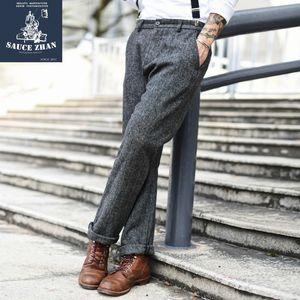 SauceZhan 500 g de lana de la vendimia pantalones rectos de lana de caballero retro invierno pantalones Y200701
