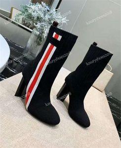 Metade Botas Sock Sapatos Mulheres Knit Suede Botas Knit Botim Chunky Heel Martin Shoes Top Mulheres Qualidade Sneakers 10CM