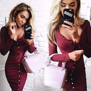 Otoño Mujeres Bodycon Dress Moda Sexy Manga larga Solid Botton Down Casual Elegante Stretch Mini Vestidos de lápiz Vestidos